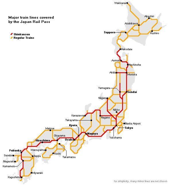 Karta för Japan Rail Pass