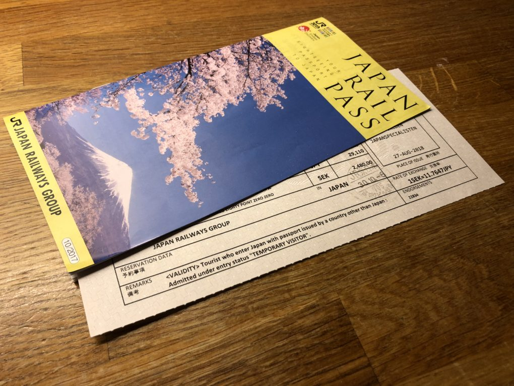 Broschyr för Japan Rail Pass