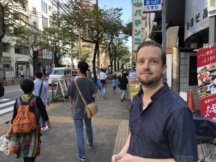 Dan Westin utanför Nippori Station i Kyoto