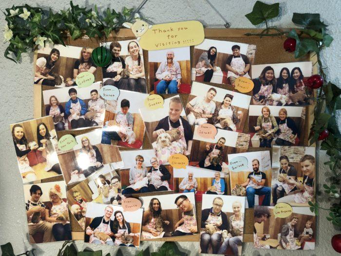 Bilder på tavla med tidigare besökare.